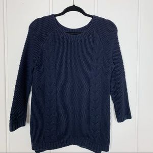 Cynthia Rowley Navy Chunky Knit Crewneck Sweater